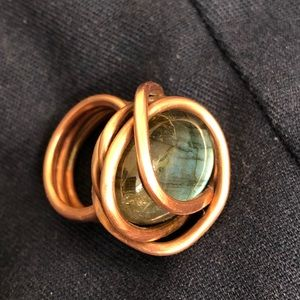 Beautiful copper and glass stone ring.